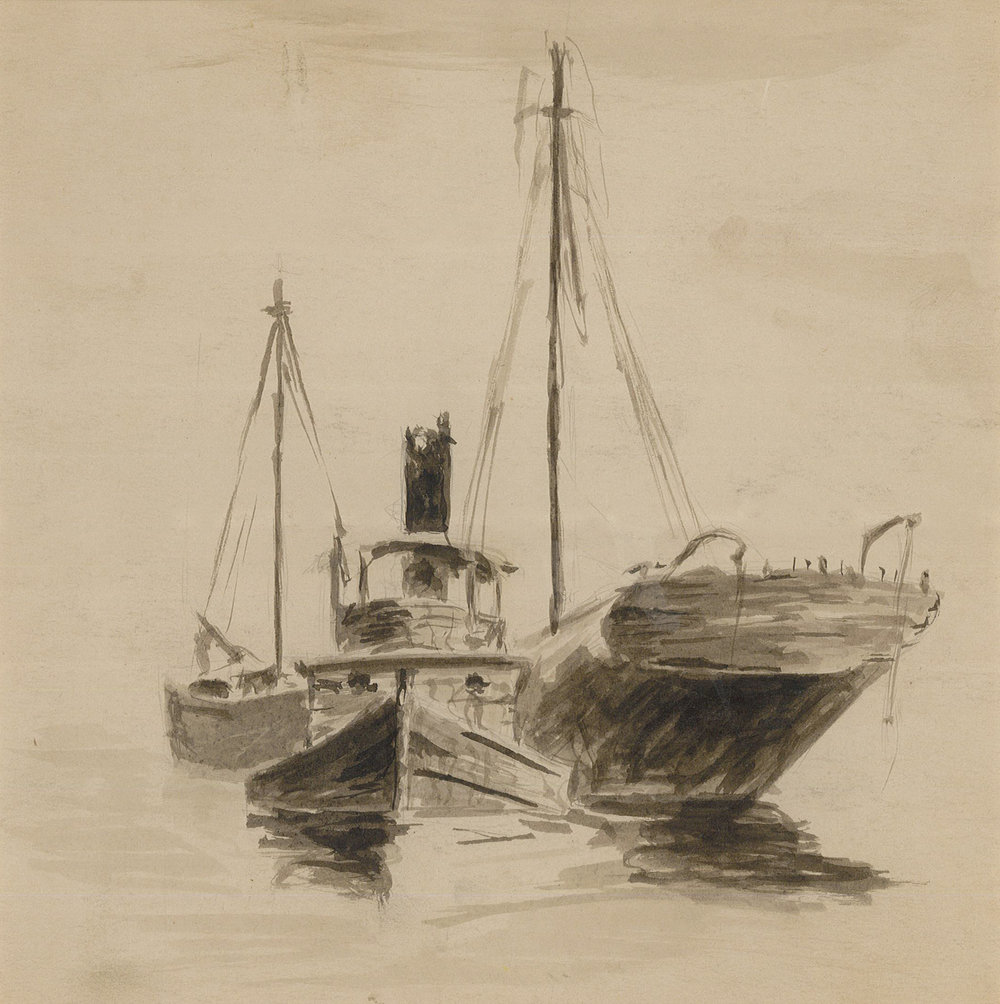 "Sloop, tug, and schooner Pen and ink on paper, 7 ½"" x 7 ½"""
