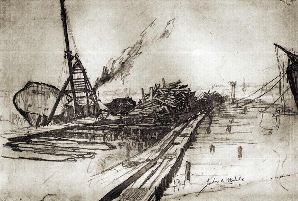 "An A-frame derrick barge and the five-masted wooden barkentine City of Austin, built in Orange, Texas in 1918, were common elements of the Port Johnston landscape. Pencil on paper, 9 ½"" x 14 ¼"""