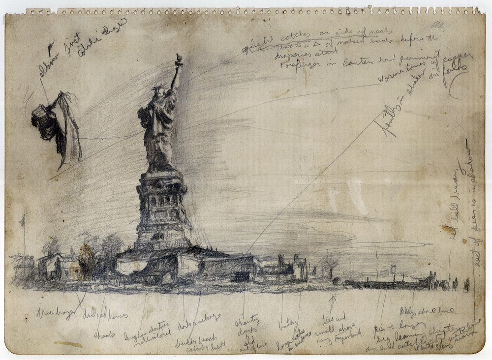 "Noble was struck by the appearance of the Statue of Liberty from the back. In this study he sketched and made notes about it and the surrounding landscape from the perspective of the old Lehigh Railroad docks at Black Tom, NJ. (Pencil on paper, 9"" x 12"")"
