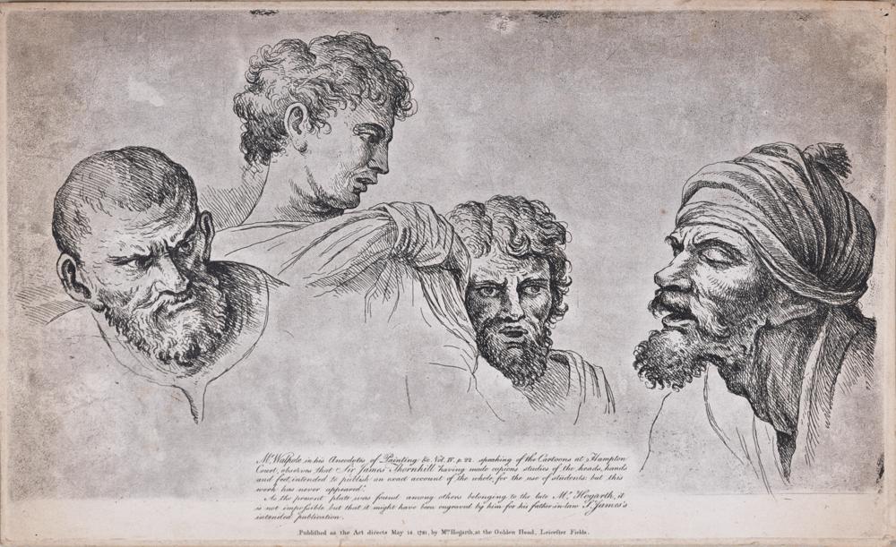 "1. William Hogarth (1697–1764) After Raphael, (Raffaello Sanzio or Santi) (1483–1520, ""Four Heads from the Raphael Cartoons at Hampton Court"""