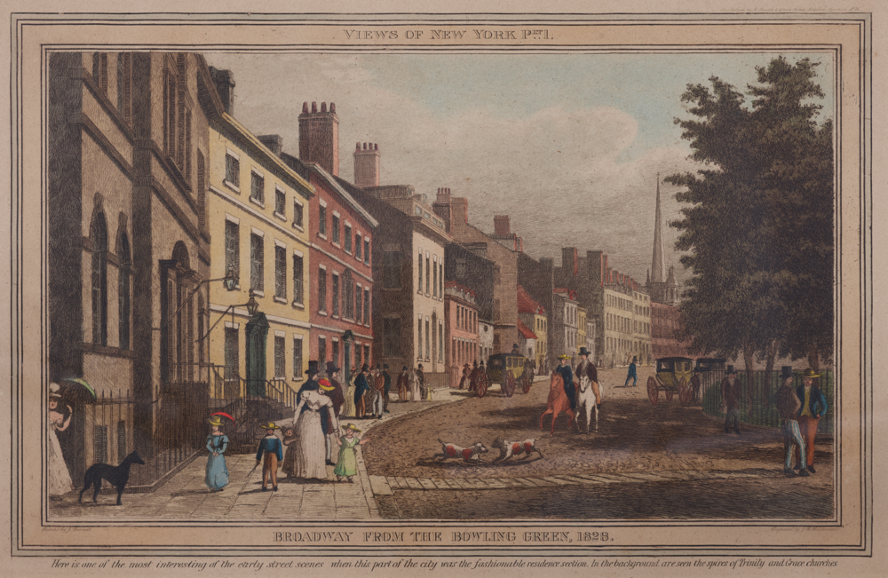 "18. J.R. Hutchinson (active 1820s), ""Broadway from Bowling Green 1828"""
