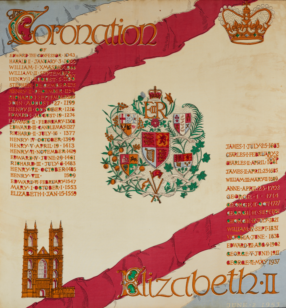 7. Commemorative scarf Issued for Coronation of Queen Elizabeth II, June 2, 1953
