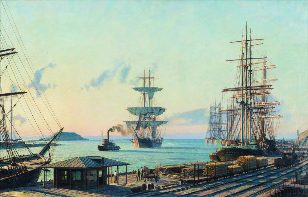 John Stobart,  San Pedro:   The Bark  Vidette  Towing into Port at Sunrise in 1890 , oil on canvas, 1983;  courtesy of Kensington Galleries.