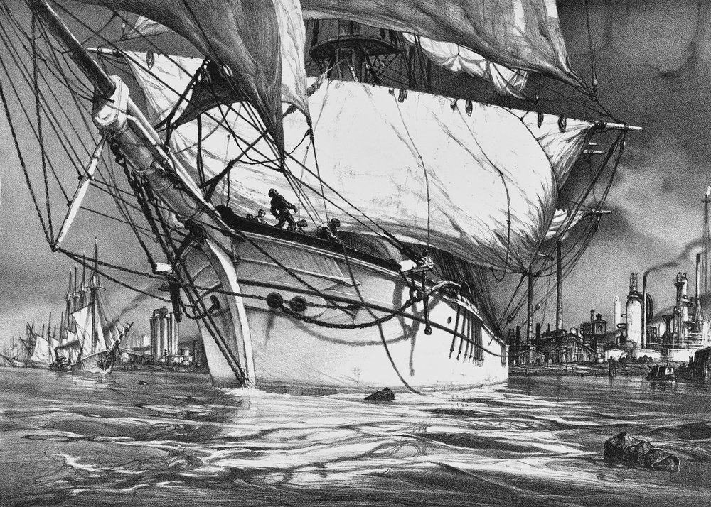 John A. Noble, N.A. (1913–1983),  The  Guadalhorce  Leaves Bayonne Forever, Bayonne Centennial Commemorative Lithograph, 1869-1969 , Lithograph, Edition 200, 1969, 12 ¾″ x 18″; gift of Charles Schafer