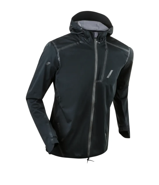 SkyRun Jacket   The Skyrun jacket is the ultimate running jacket for the all-seasons runner. The invisible chest pocket utilizes Aerogel insulation to keep your phone warm and dry - preventing the battery from dying in cold temperatures. The main body of the jacket is made of 50% recycled polyester material, and features stretchy, breathable and windproof protection and reflective detailing for visibility in low light conditions.