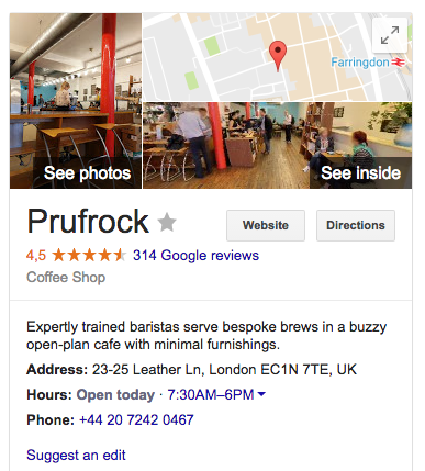 Google My Business entries help your customers to find your coffee business online.