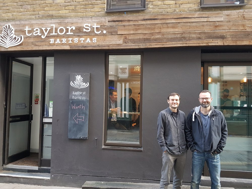 Andrew and Nick Tolley in front of one of their shops.
