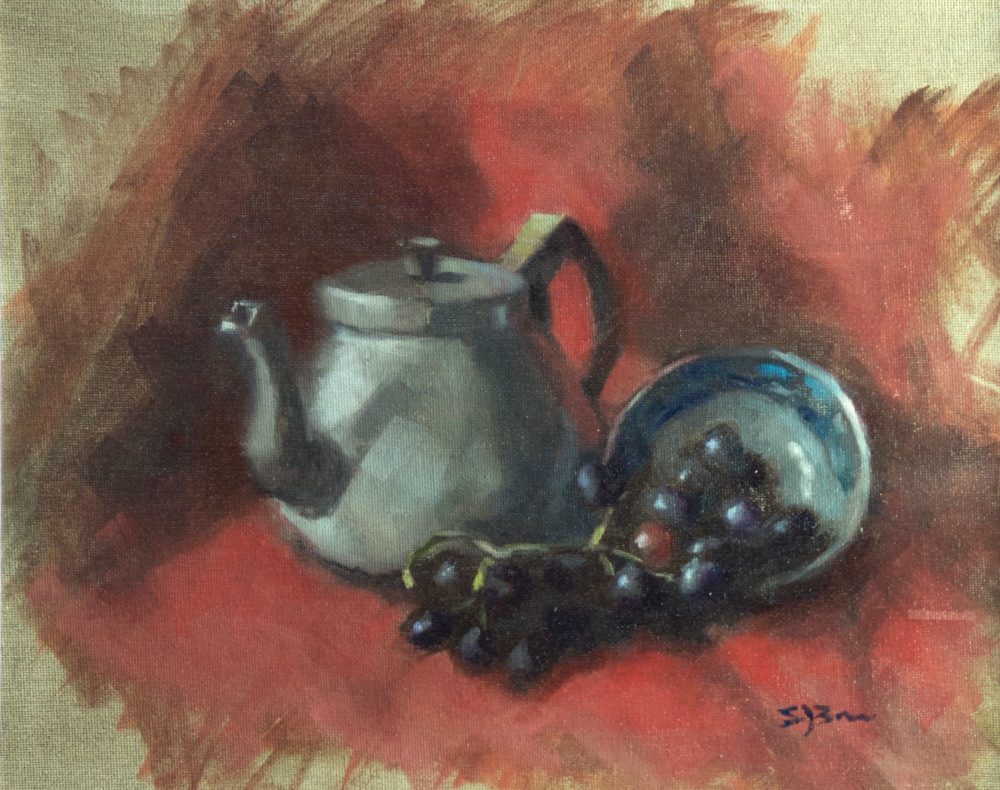 Still Life with Teapot II Oil on linen board