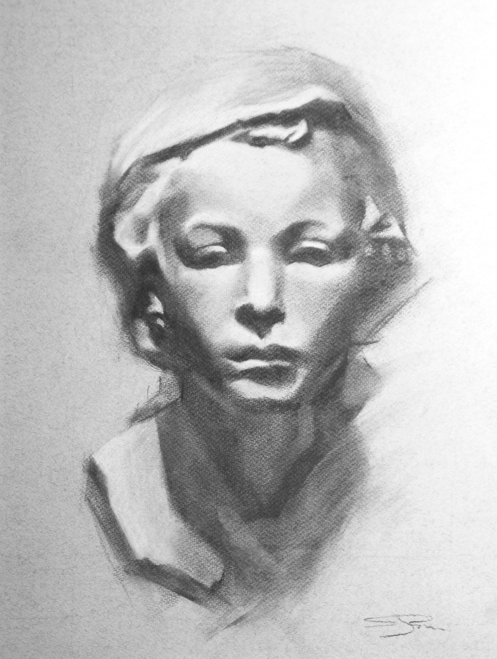 The Fisher Boy   Charcoal and chalk on toned paper