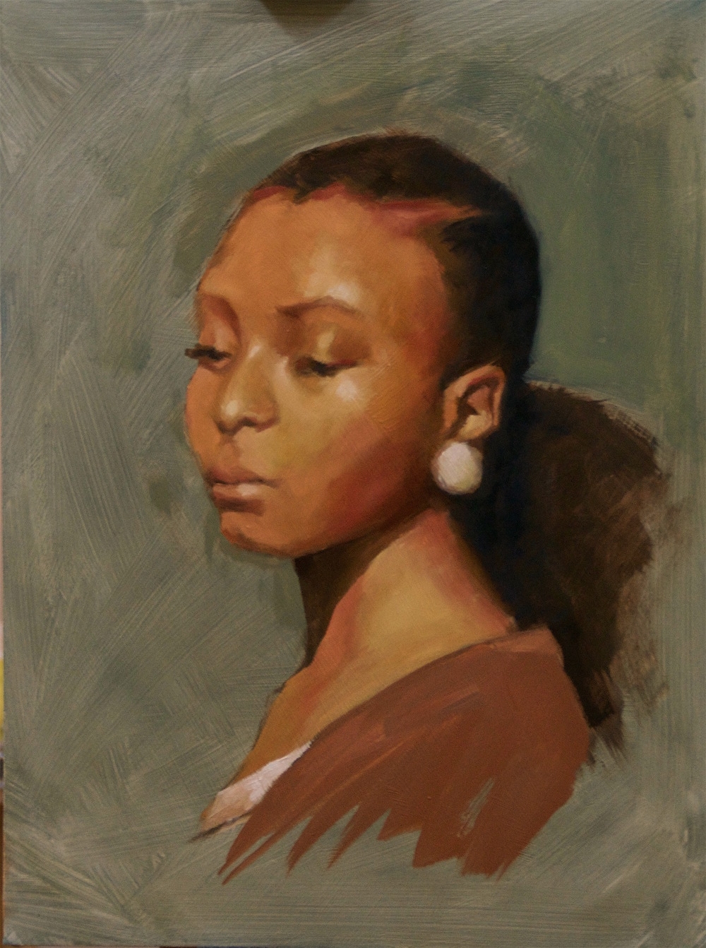 Young Woman Oil Sketch on Board