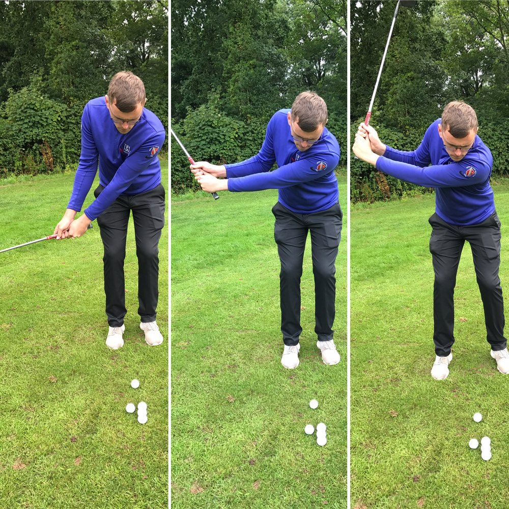 From left to right James 8 o'clock, 9 o'clock & 10 o'clock swing positions.