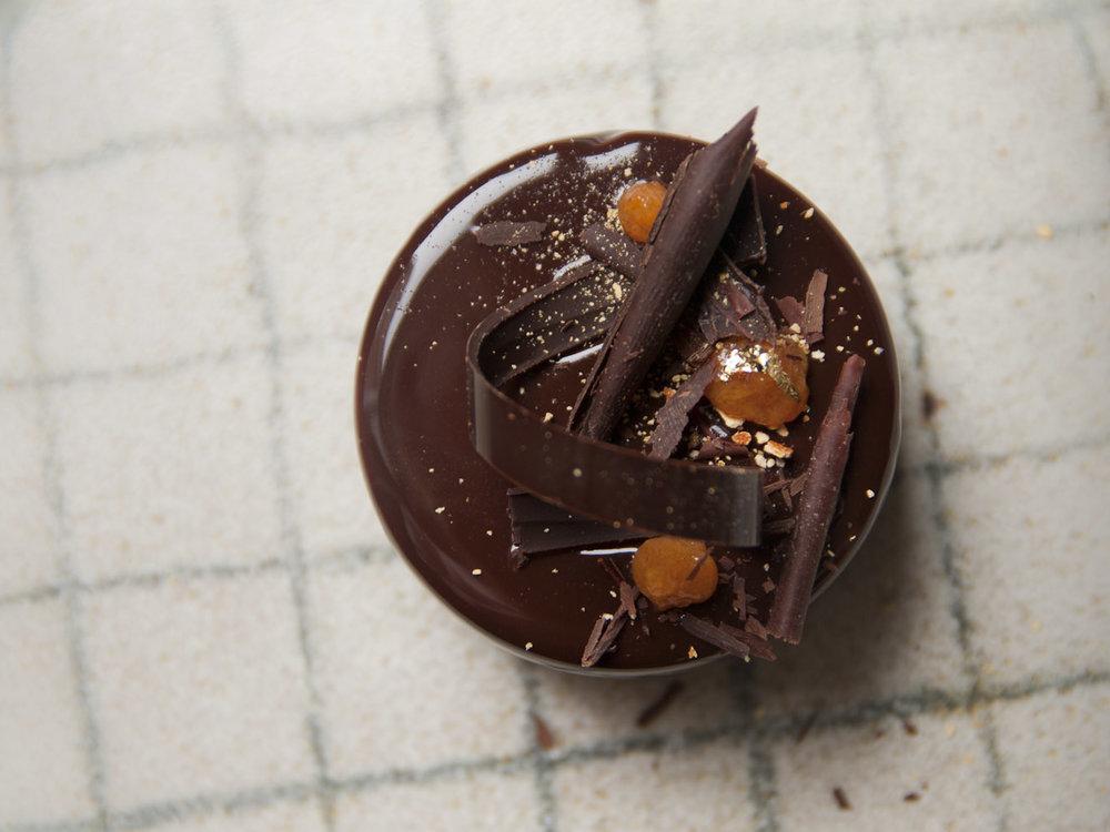 Chocolate-Orange-Saffron Mousse Cake