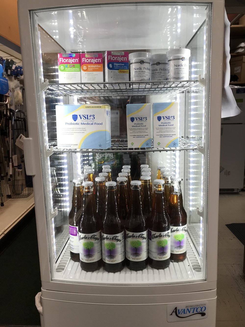 Cool New Section! - Here's to your health! Look in our new refrigerator to find refreshing Charlie's Chaga Soda and premium probiotics.