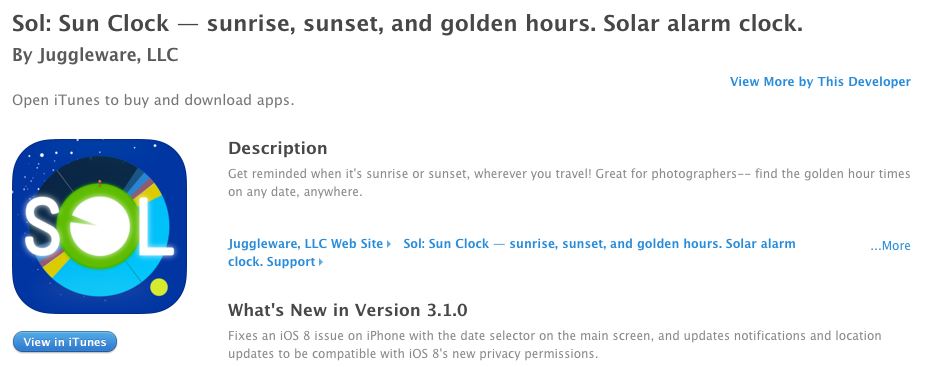Sol: Sun Clock app