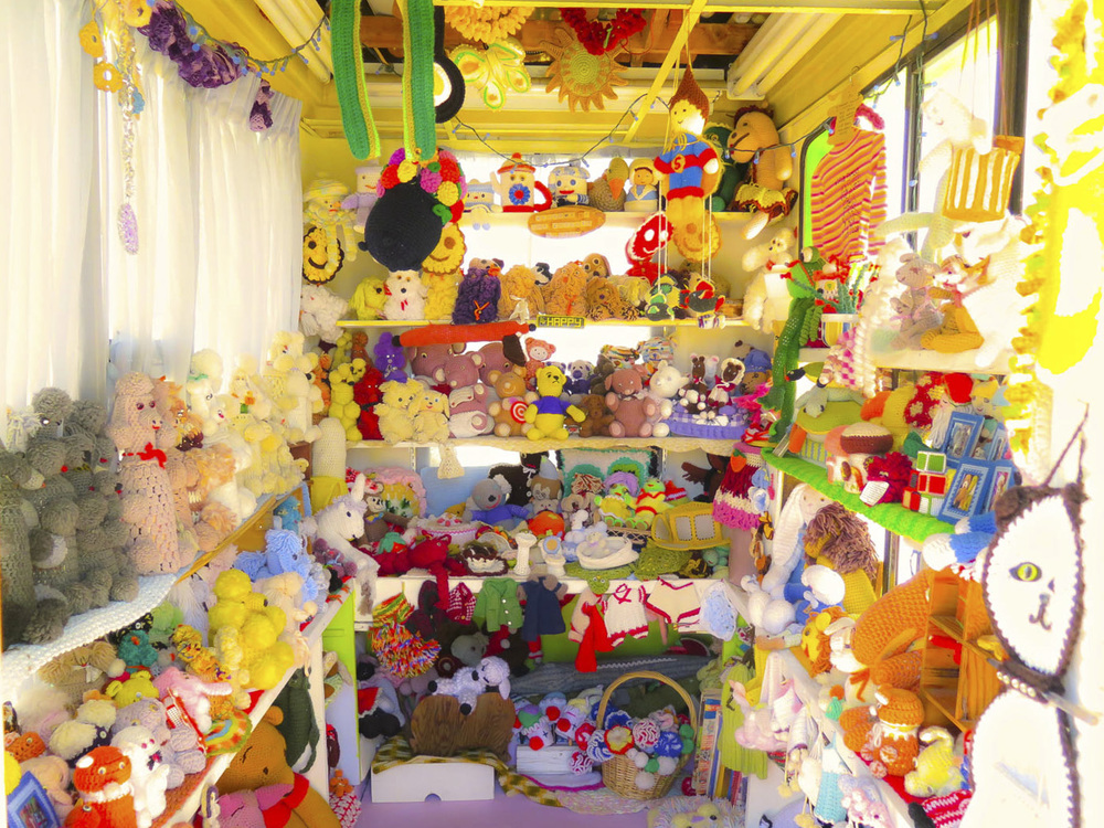 Yes, that's the entire World Famous Crochet Museum ( I'm hiding in there! Can you find me? )