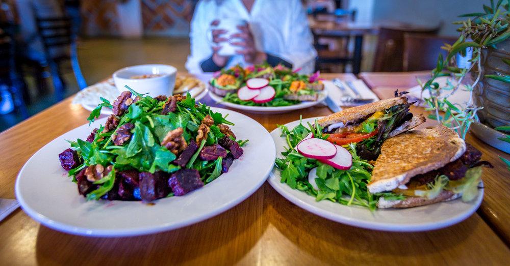 beet salad. vegan BLT. hummus.