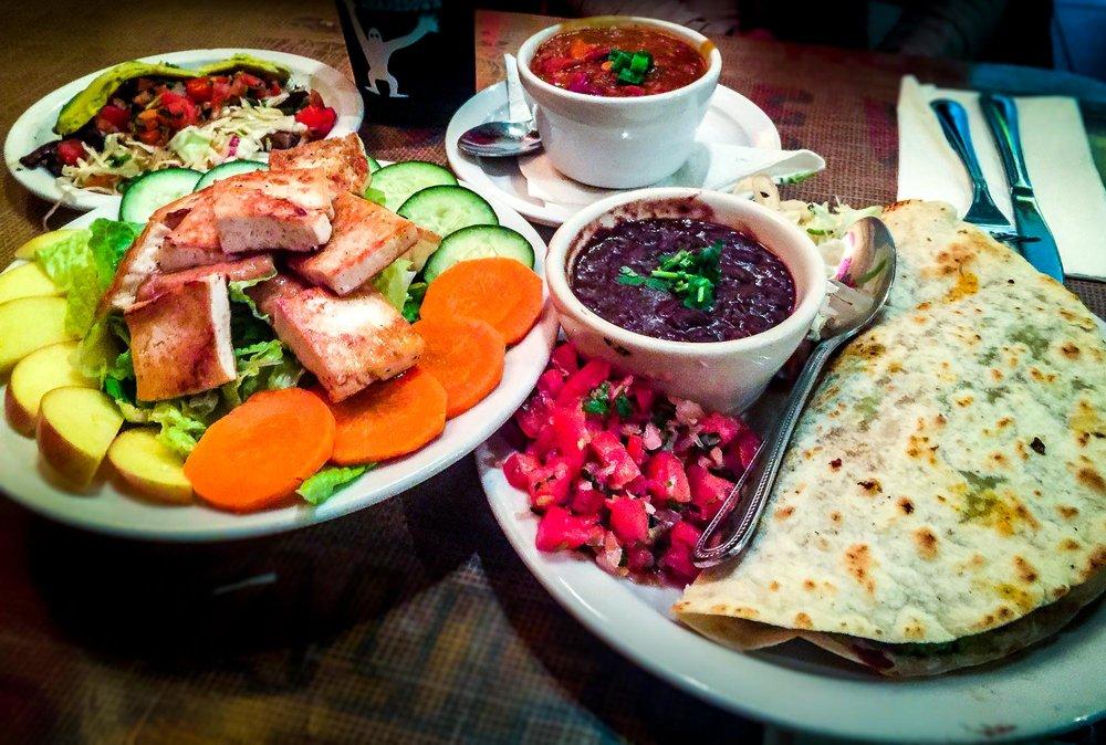 """""""Alyce"""" taco/mushroom taco, vegan chili, Thai Dye salad with tofu, Santa Cruz (vegan) quesadilla"""