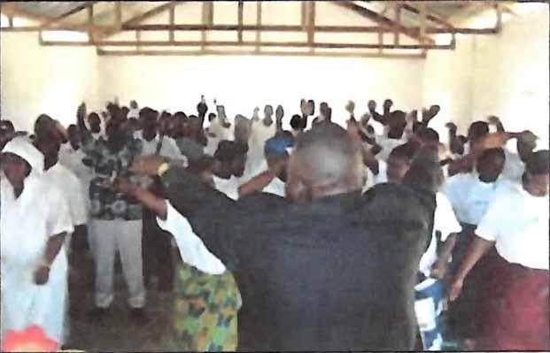 Members worshiping