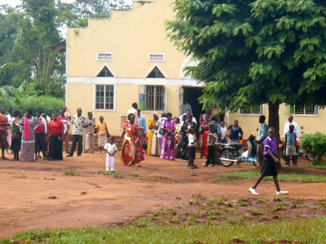 Villagers outside of church