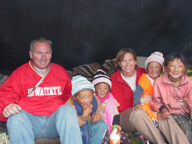Deb and Dan with nomadic yak herder's children