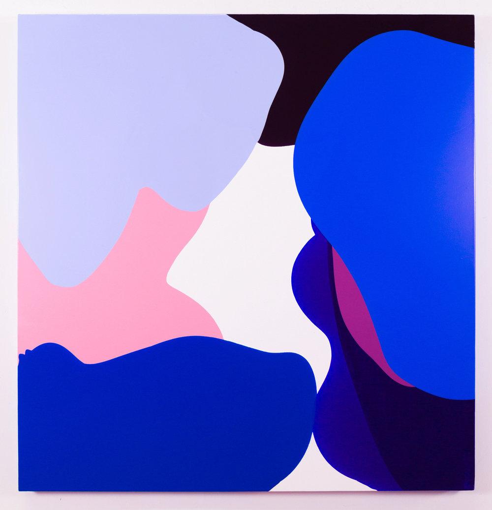 """Bounce 2017  47"""" x 46"""" acrylic and mediums on canvas"""