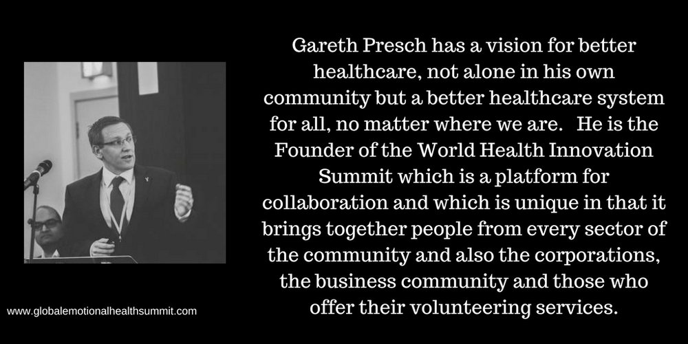 Gareth Presch has a vision for better healthcare, not alone in his own community but a better healthcare system for all, no matter where we are. He is the Founder of the World Health Innovation Summit which is a plat.jpg