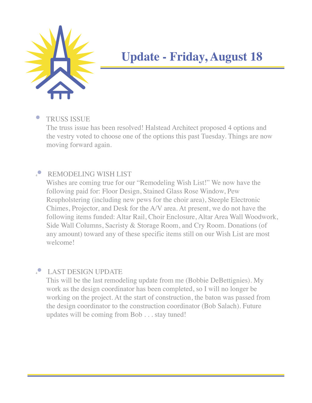 August 18 Remodeling Update - St. Michael's Episcopal Church Noblesville Indiana.jpg