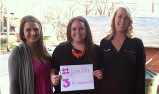 OSU chapter president Kirsten Mullins (center) with two volunteers