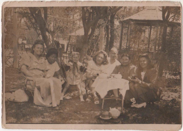Anna and her family at their summer place in Qingdao. From left: Anna's mom, Lydia; Mary, a maid; Anna; Anna's Aunt Sandra; Akho, the cook; Anna's Auntie Margarita; and Anna's Aunt Lucy.