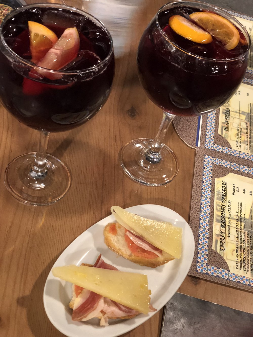 Enjoying sangria & tapas on an overnight layover in Madrid, Spain