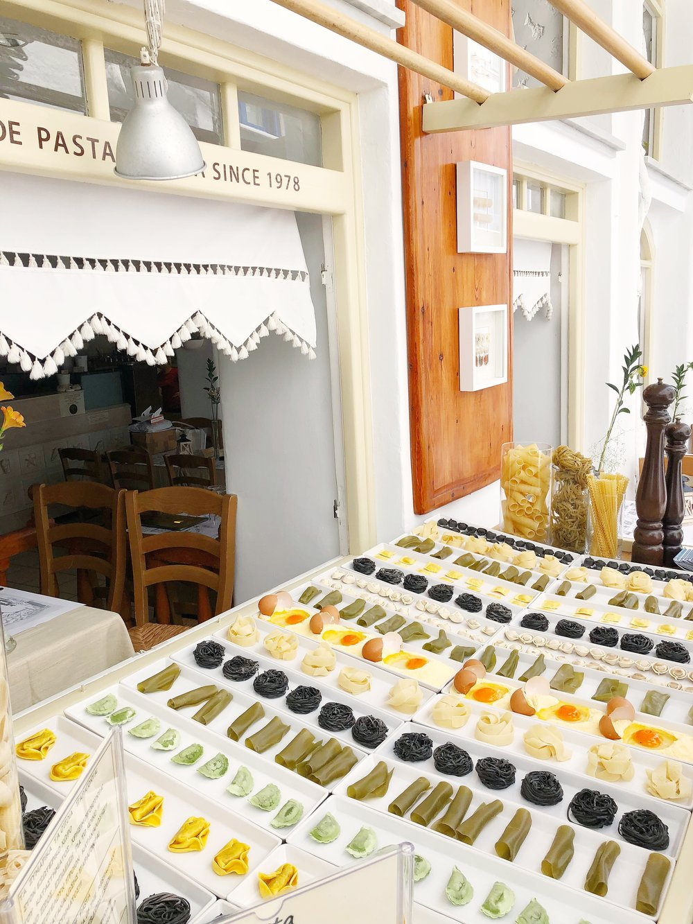 Fresh pasta display / there truly is a wide variety of food on the island!