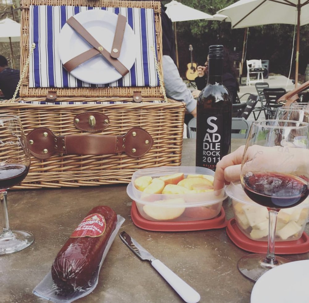 Our picnic lunch and Saddlerock Wine - yum!