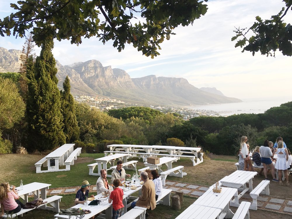 View of the Twelve Apostles from Roundhouse restaurant in Cape Town, South Africa.