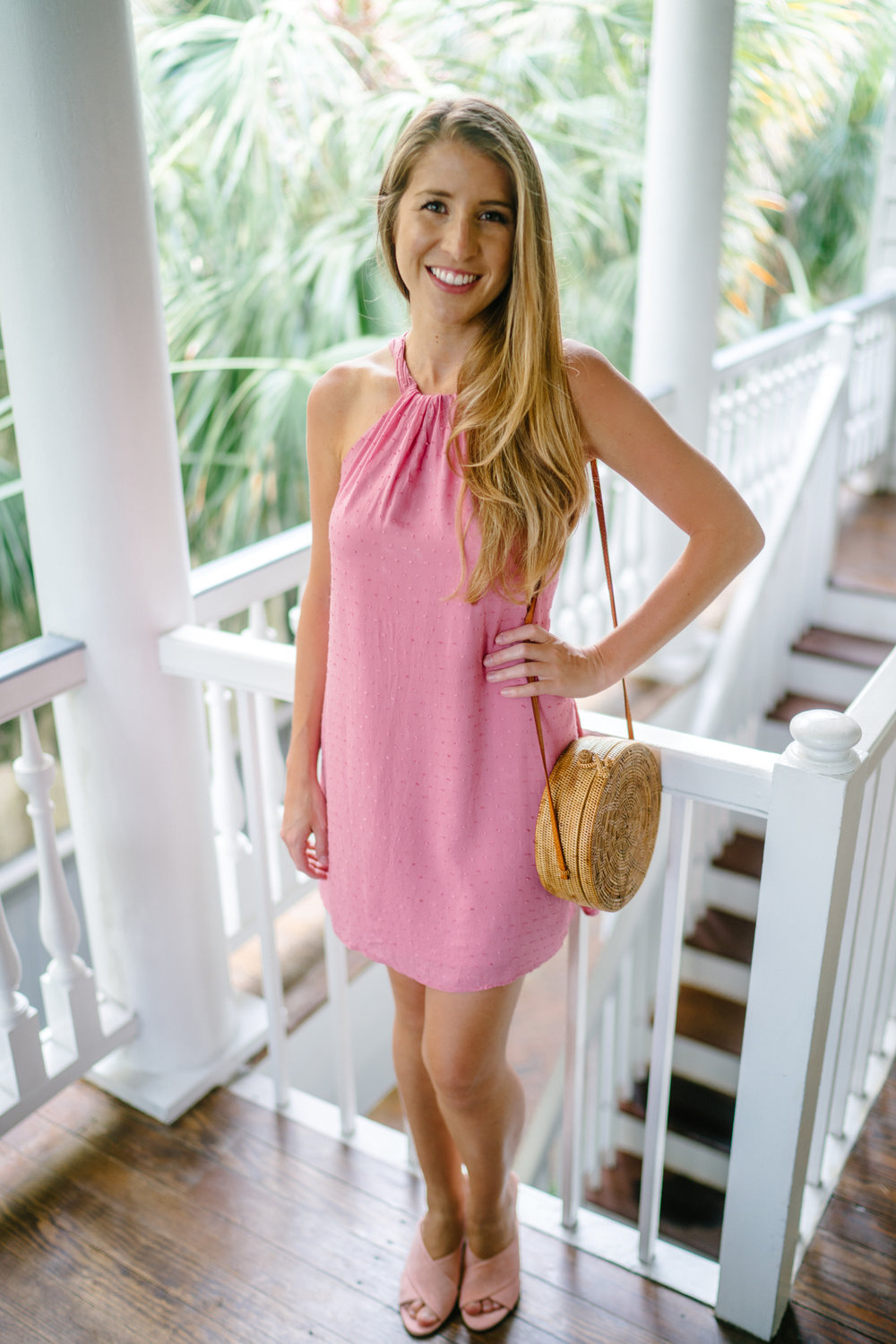 pink halter dress in Charleston