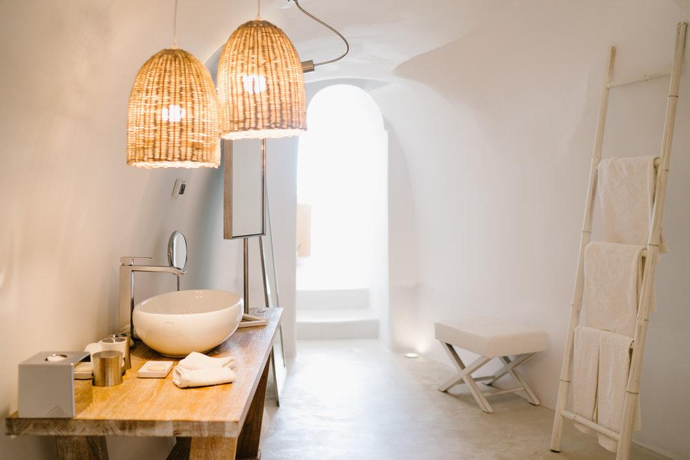 Charisma Suites bathroom in Santorini