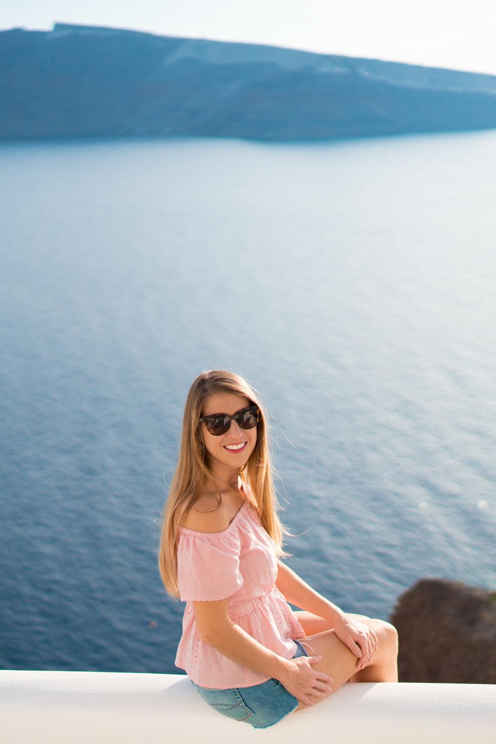 pink off the shoulder top in Santorini