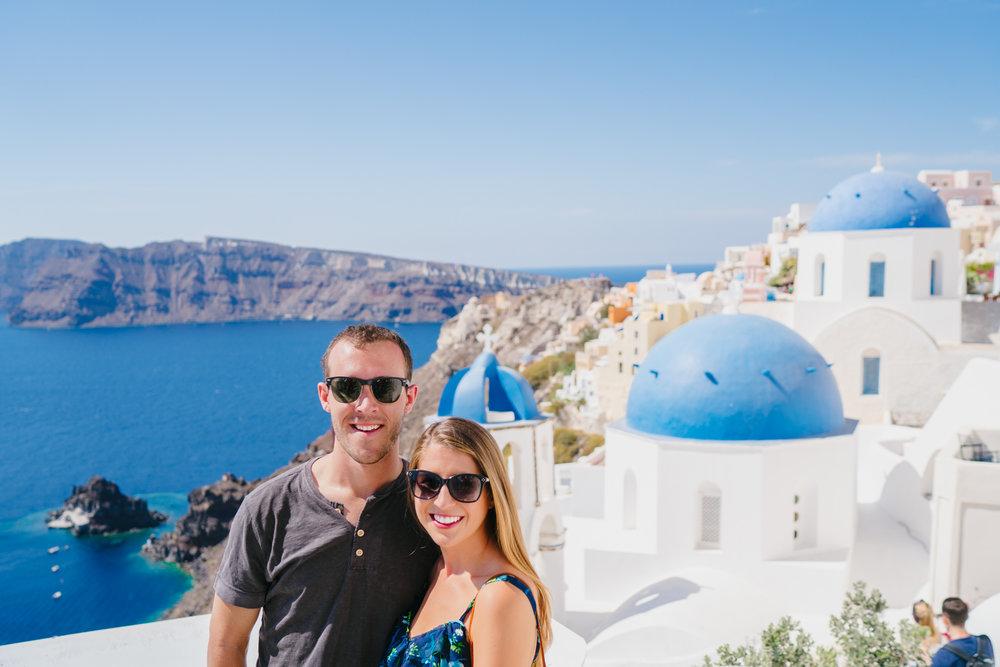 Classic blue domes of Santorini