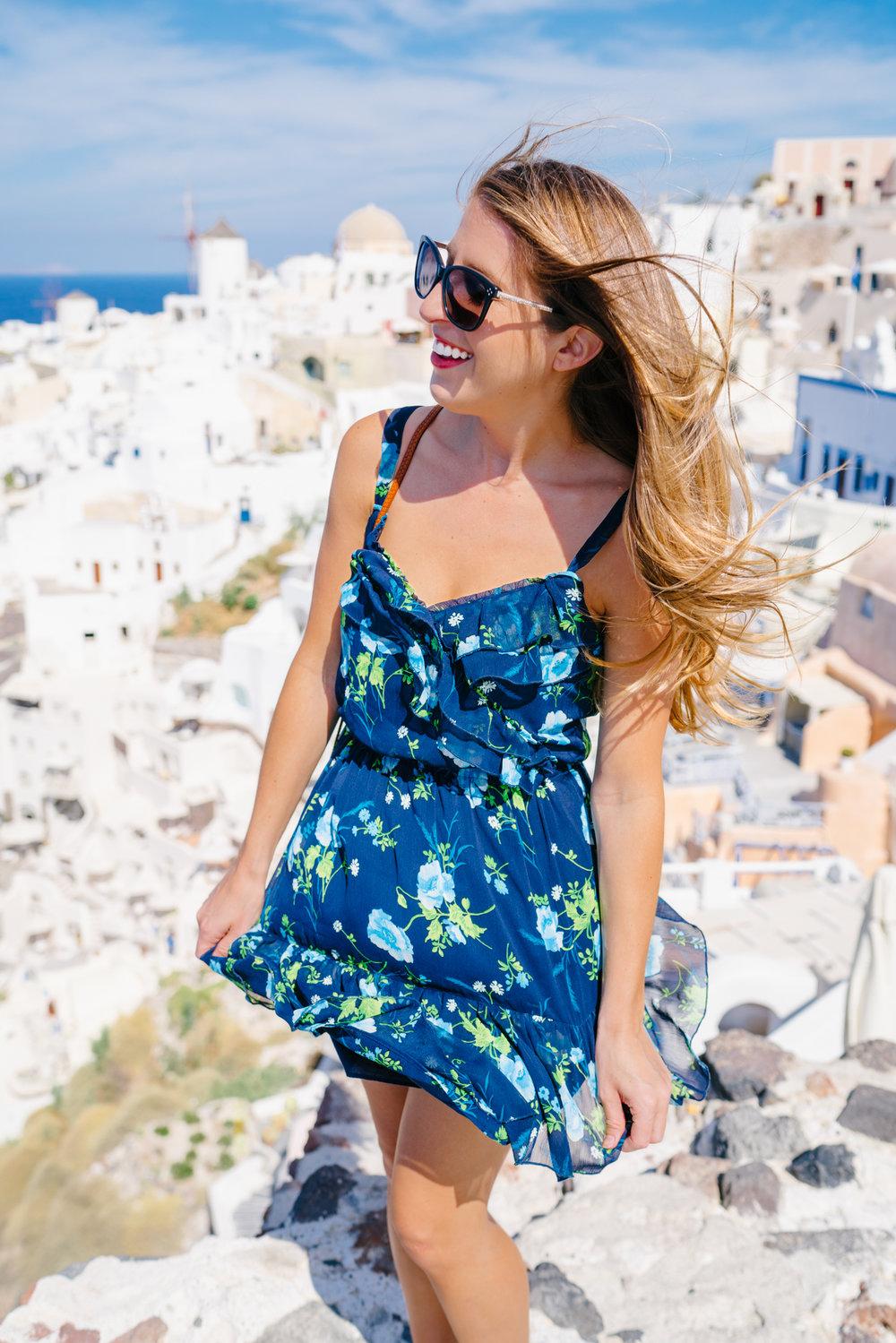 Blue Floral Ruffle Dress in Santorini Blue