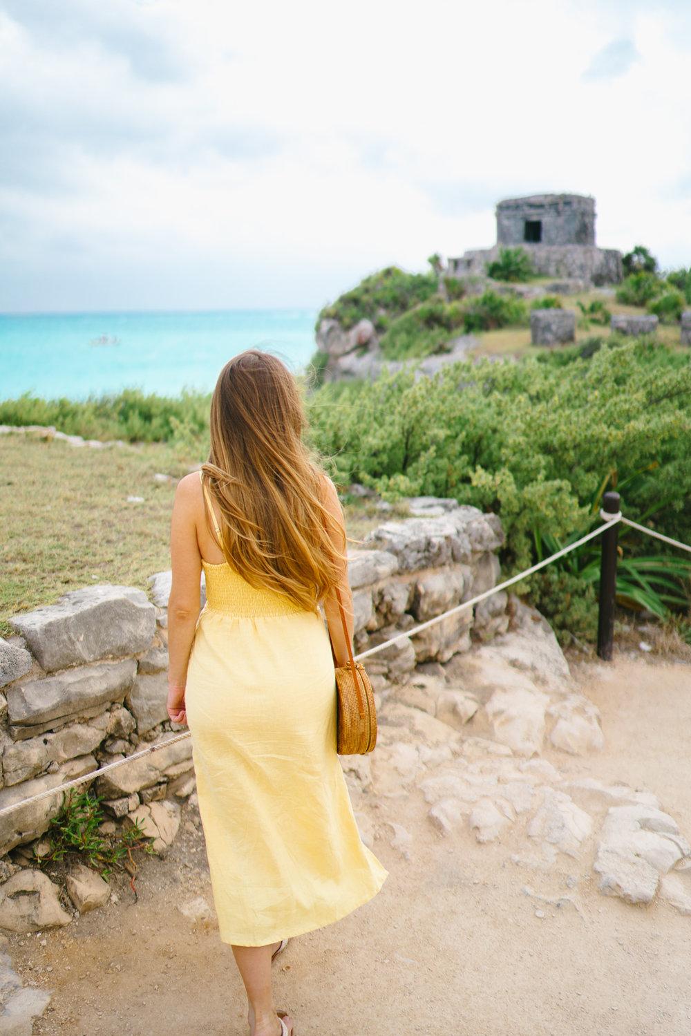 Tulum Ruins overlook linen dress