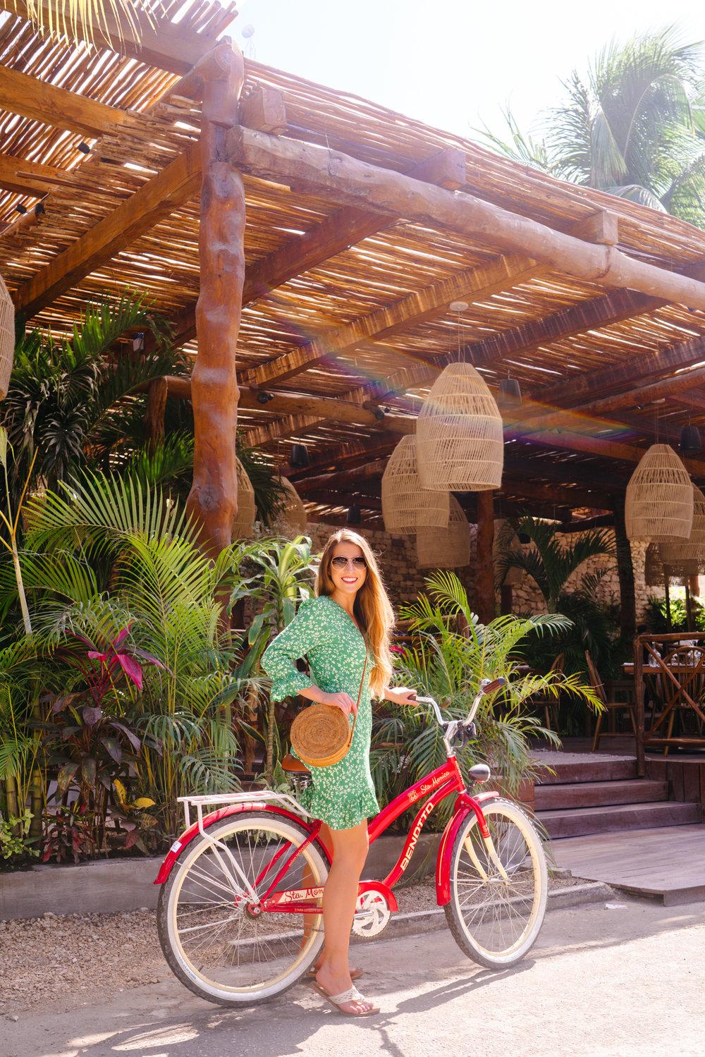 Riding bikes in Tulum