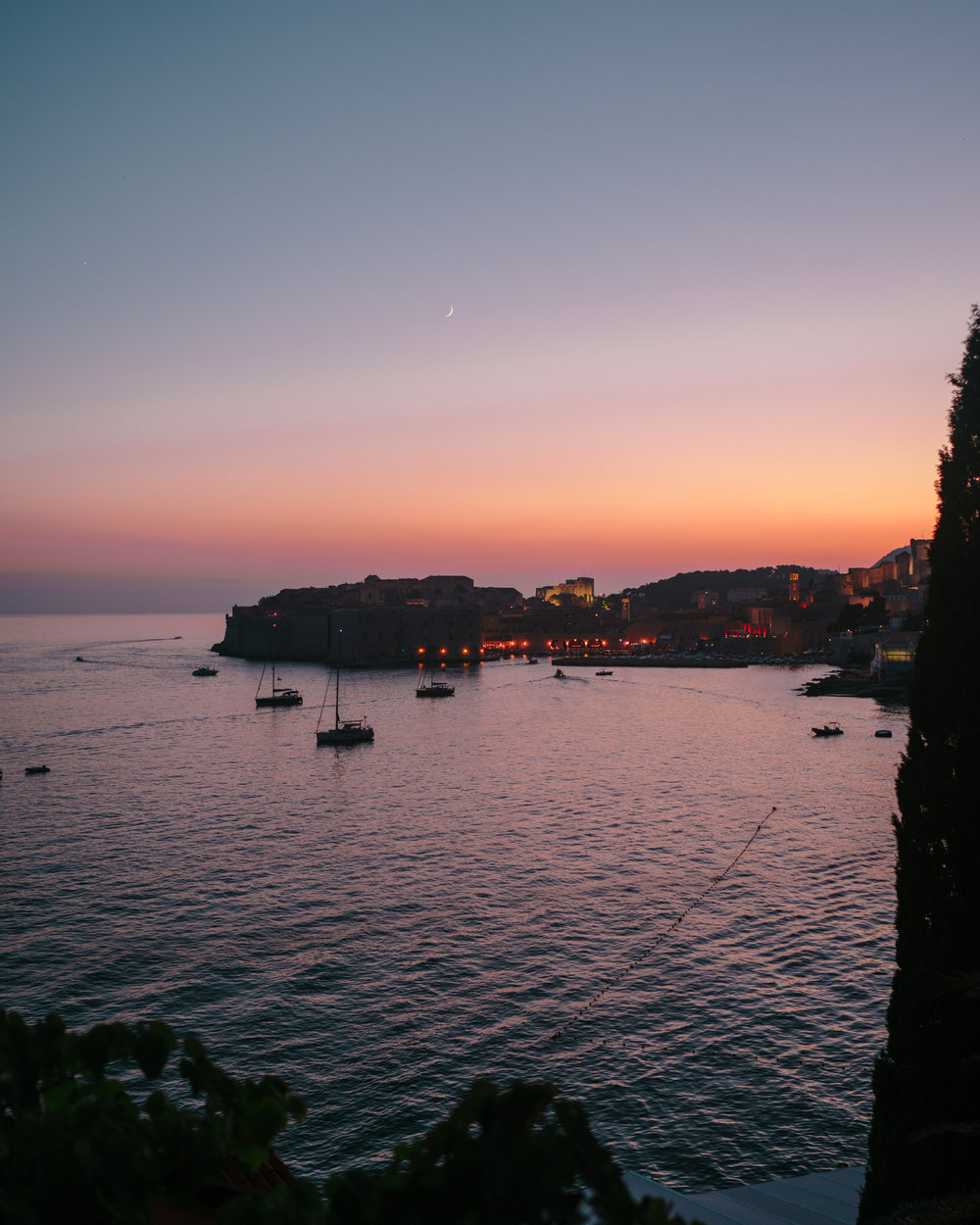 Sunset view of Old Town Dubrovnik