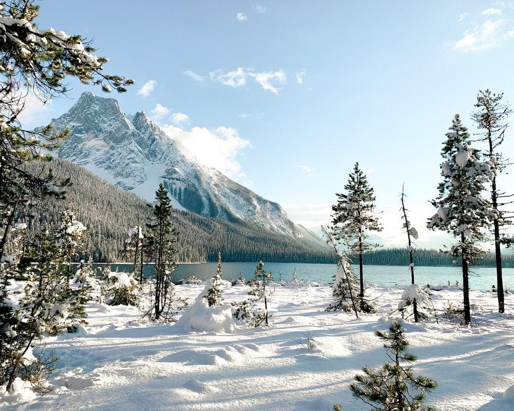 Hiking around Emerald Lake in winter