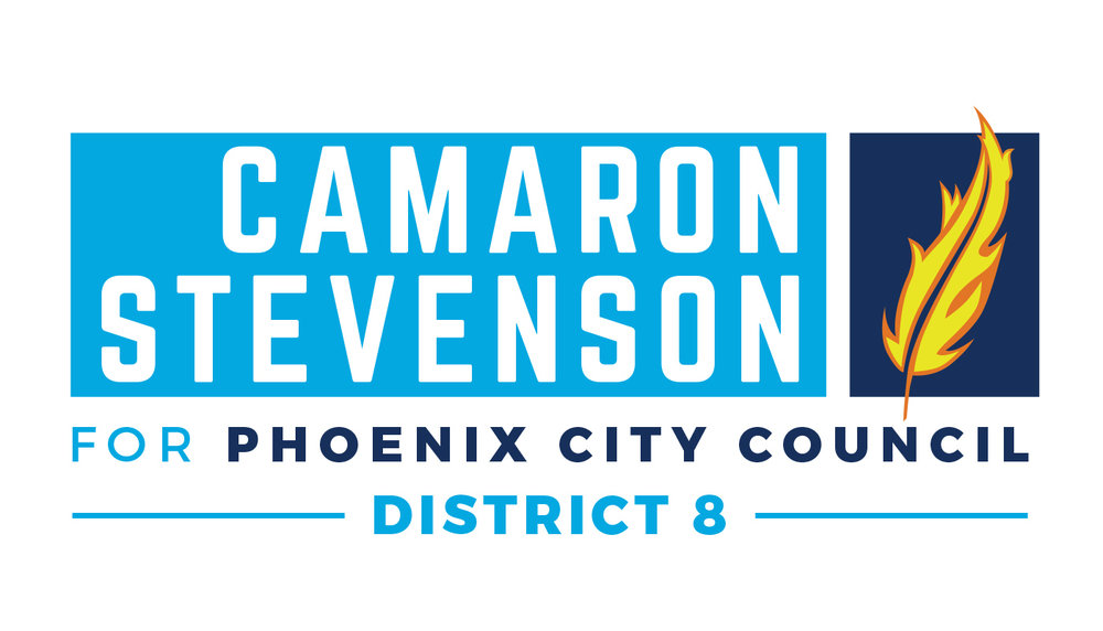 This was the main identity for  Camaron Stevenson's  Phoenix City Council bid. We wanted to stay away from the cliched image of a Phoenix bird, but still have it represented in some way. We chose a burning Phoenix feather. Bird imagery has been used by progressive campaigns to symbolize hope, but a feather also carries that connotation. The light blue tone has become a symbol of hope and progress exemplified by the Obama and Bernie Sanders campaigns and we wanted people to associate Camaron's campaign with those values.