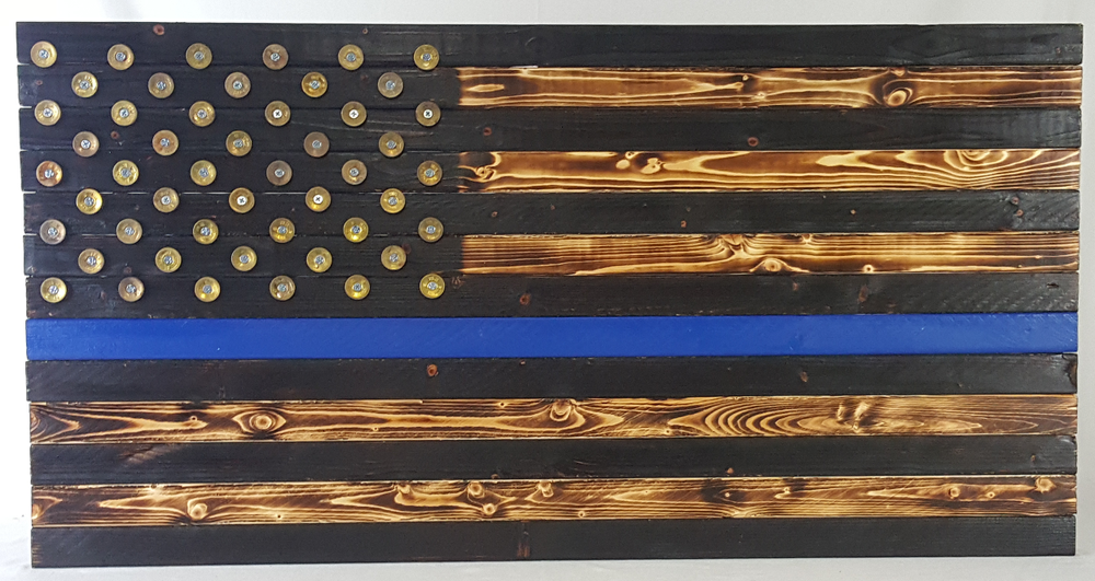Thin Blue Line Police Charred Wood American Flag Gun Mount Pipe Fittings Optional