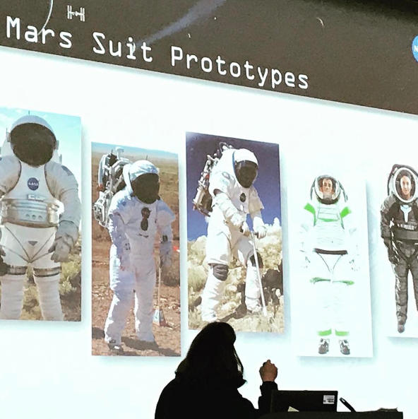 Amy Ross from  NASA  giving a presentation on Mars spacesuit technology | Photo Cred: Eleanor Sachs