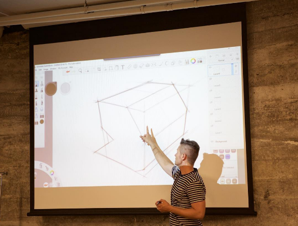 Jeff Smith of  Autodesk  giving a presentation on the importance of sketching | Photo Cred: Strukture Event