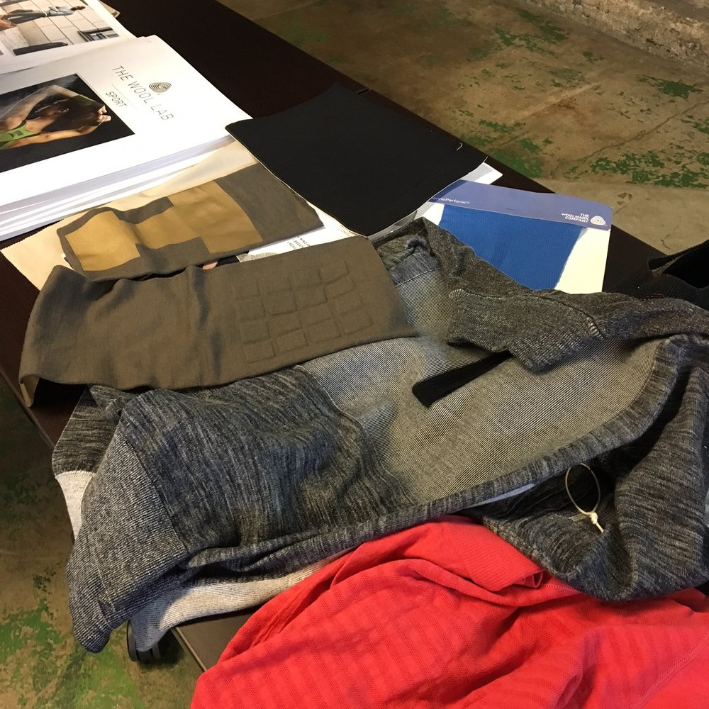 Close up shot of some of the many samples brought in by Woolmark for their presentation. | Photo Cred: Hemmer Design
