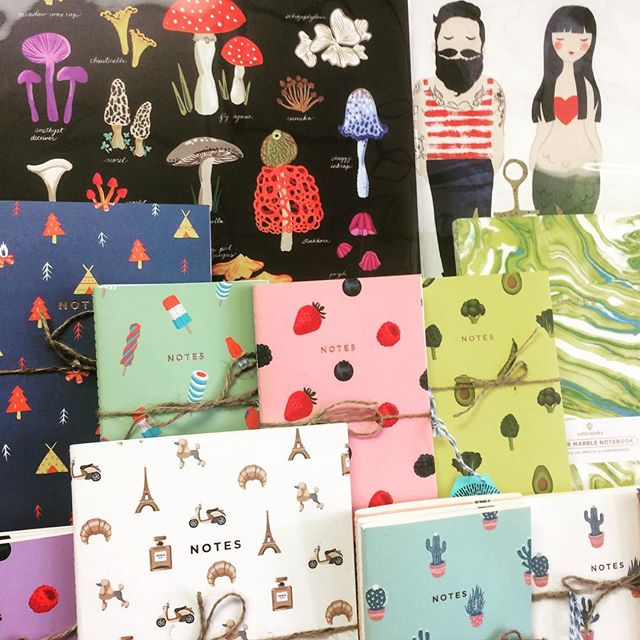 Prints, paper, and pen pads galore! Open till 5 or later if needed today! #papergoods #print #shopsmall #mushrooms #mermaids #supportlocal #shoplocal #art #handmadeholiday #makersgonnamake #christmas #diy #gifting #whitinsville