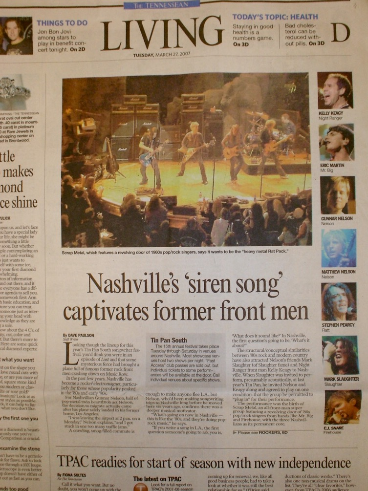 NSAI Tin Pan South 2007 full page coverage for  SCRAP METAL  in Tennessean.