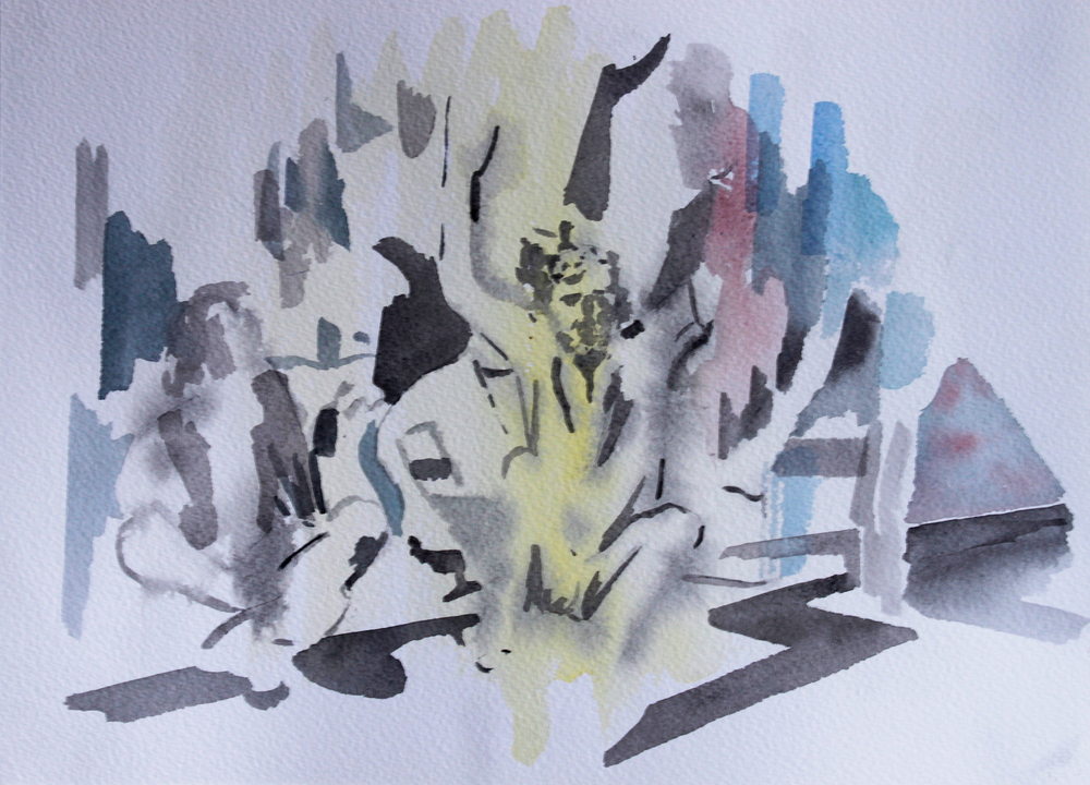PROTEST, Watercolour on paper, 30.5 x 40.5cm, 2014